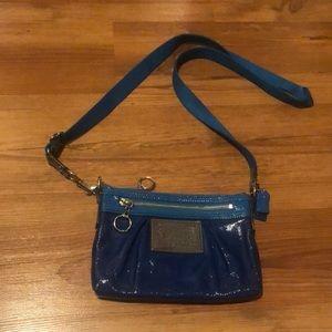 Coach Poppy Leather Swingpack Crossbody Bag Blue Patent Purse